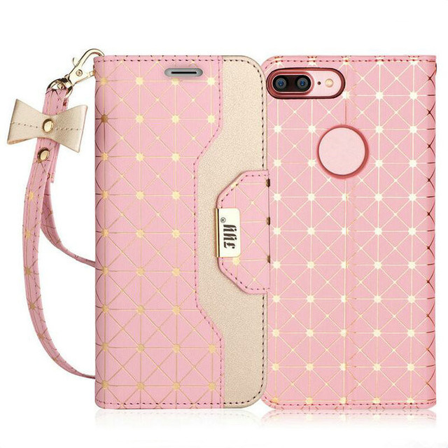watch ab8d8 d876b US $13.99 |NEW For iPhone 8 Plus, for iphone 7 plus, Wallet Case cute rose  gold Printing leather Magnetic fold phone bag-in Wallet Cases from ...