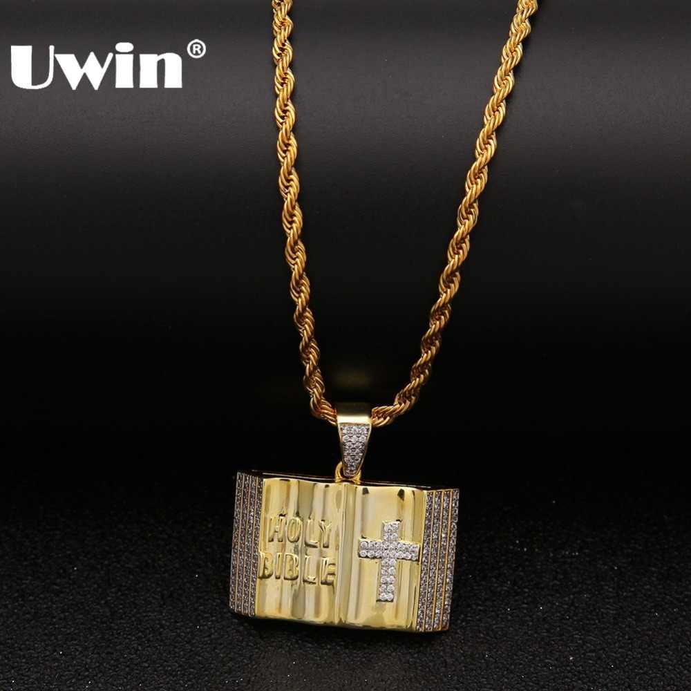 Uwin mężczyzna hip hop krzyż biblia naszyjnik Bling Bling łańcuchy wisiorki cyrkonia wisiorek biblia święta biblia krzyż biżuteria