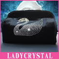 Ladycrystal veludo macio auto mala do carro caixa de tecido caixa de tecido bonito cisne diamante leopard coroa