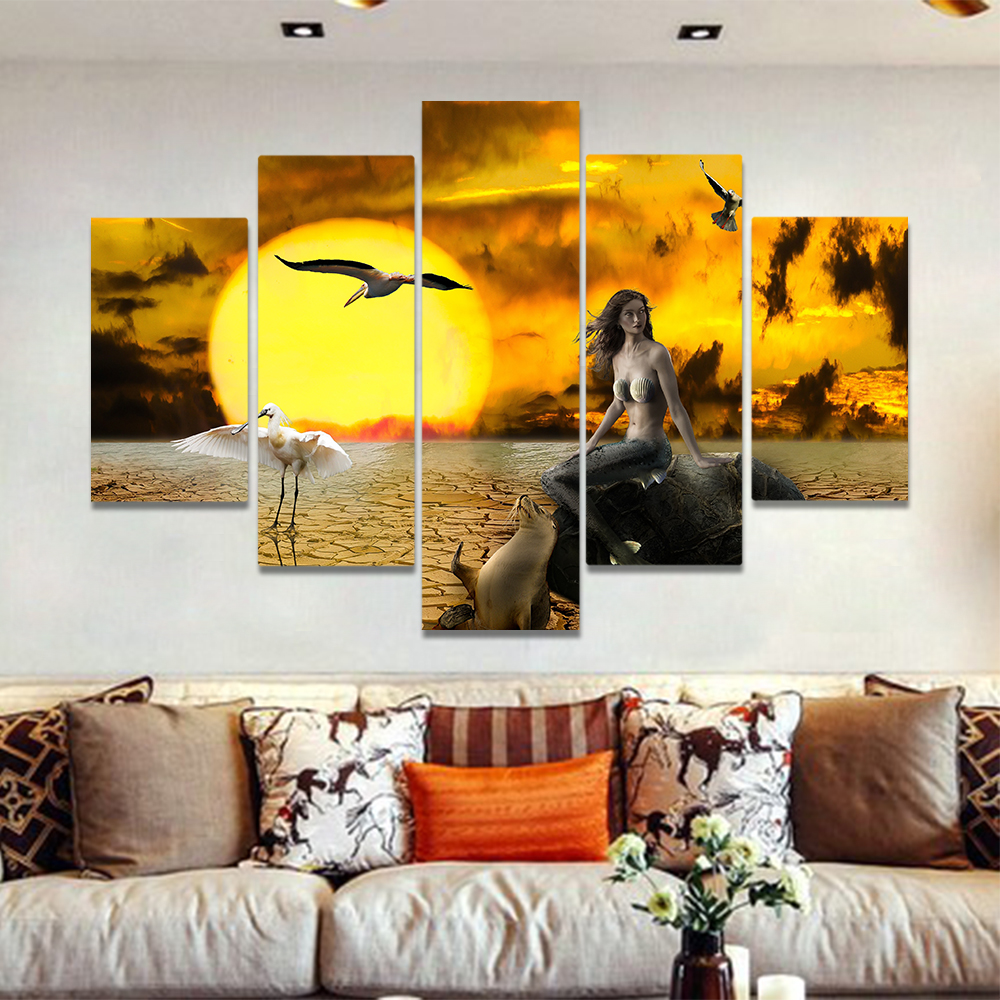 Unframed Canvas Painting Sunset Dry Sea Seal Mermaid Crack Land Picture Prints Wall Picture For Living Room Wall Art Decoration