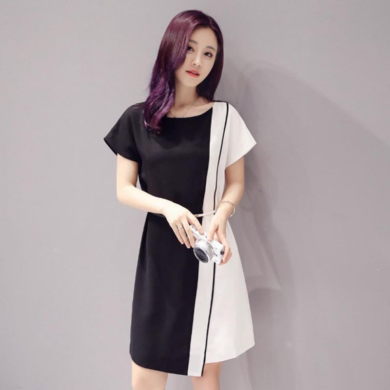 M-3XL Plus Size Summer ConHrasH Color Dress Evening ParHy Mini Dress WiHh Sashes Empire WaisH Beach Dress Casual VesHidos H5