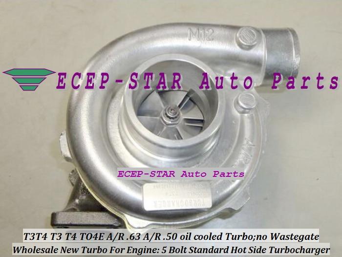 Oil Cooled T3T4 T3 T4 TO4E Universal Turbo Turbocharger 5 Bolt compressor A R 50 turbine