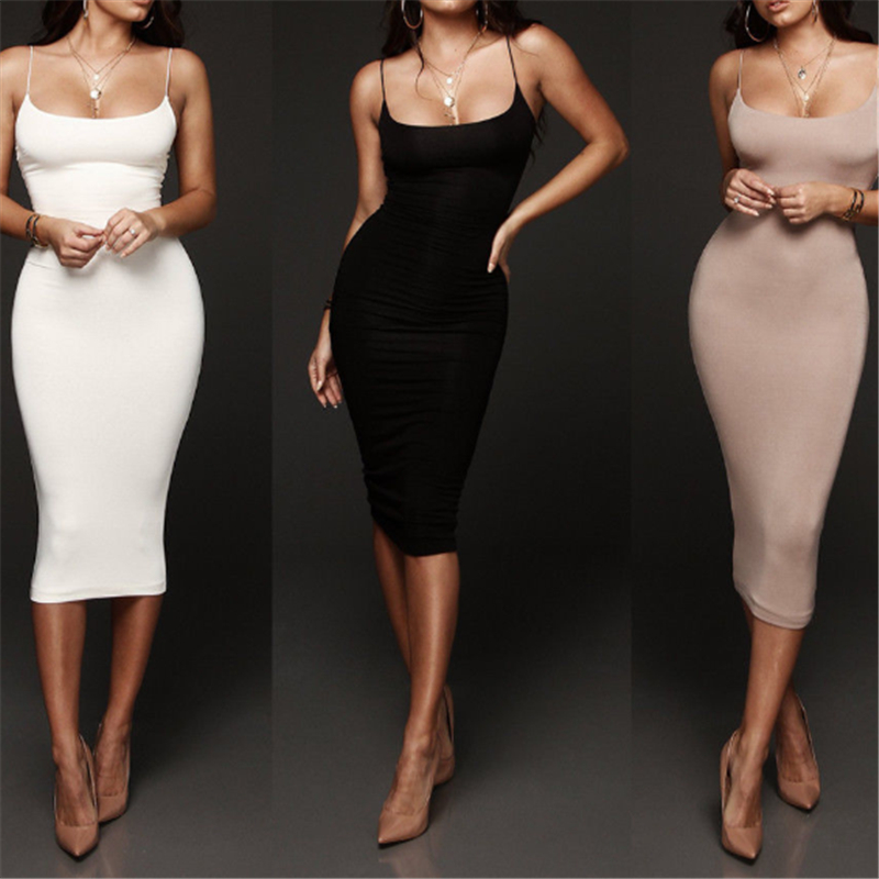 Sexy Women Bandage Dress Summer Dress 2019 Casual Tight Cocktail Party Dress Halter Sleeveless Bodycon Dress Black White Gray