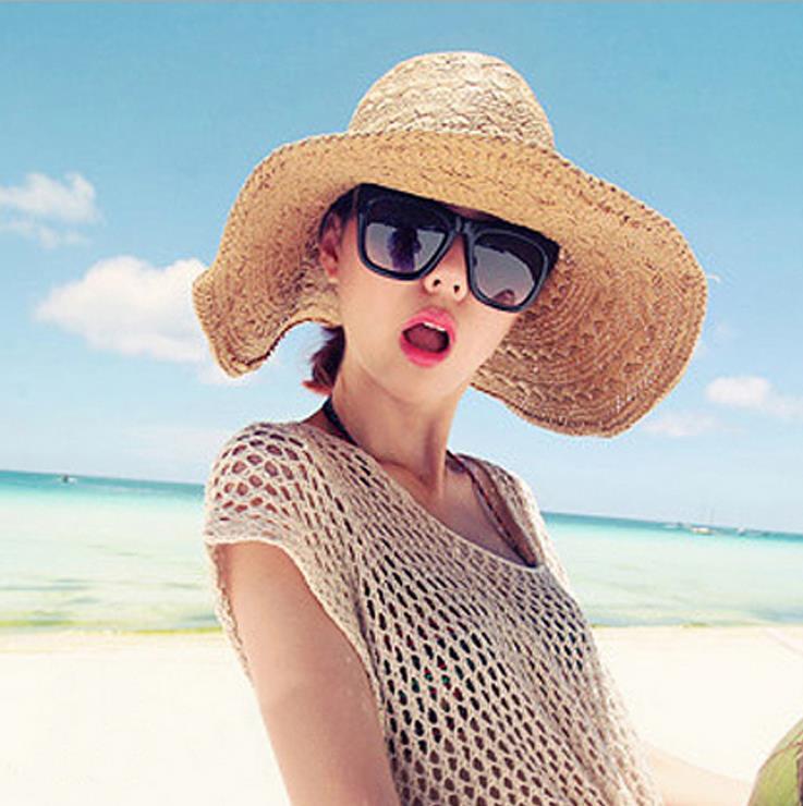 New beach vacation handmade big straw hat beach hat big hat visor folding sun hat