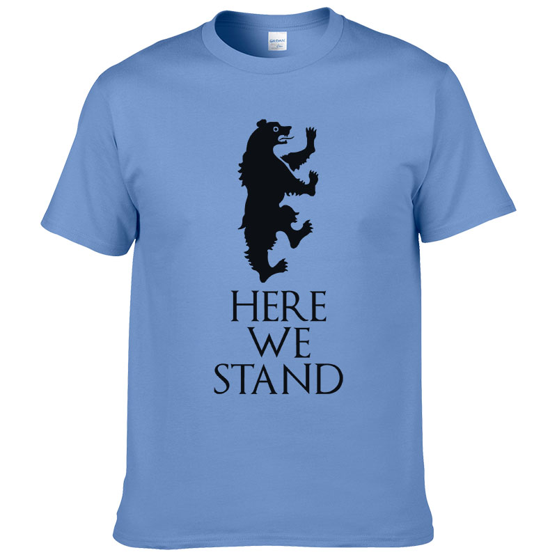 2019 Game of thrones T Shirt House Lannister Here We Stand Tees Shirts Fashion Casual Cotton T shirt For Men Women TF