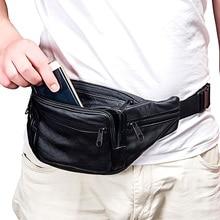 Brief Designer Genuine Leather Men Waist Bag Multi-function Belt Male Soft Surface Fanny Packs Bum Travel Wallets