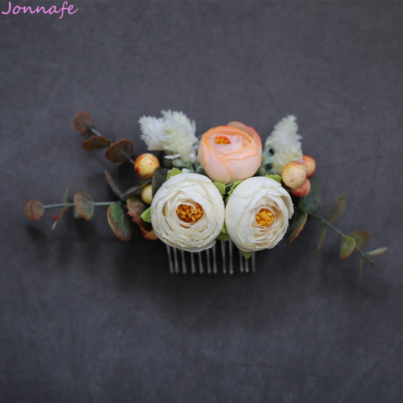 Jonnafe Handmade Floral Bridal Hair Piece Women Comb Woodland Wedding Hair Clip Jewelry Flower Girl Headpiece jonnafe handmade red flower wedding prom hair clip jewelry gold leaf bridal hair accessories comb headpiece