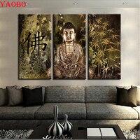 3 Pieces Buddha Statue 3d Diamond embroidery Cross Stitch Diy diamond painting Retro Bamboo full square/round drill mosaic kit