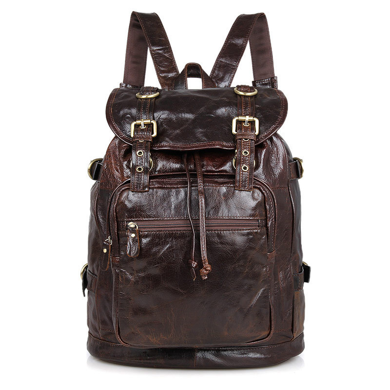 New genuine leather men backpack first layer cowhide Soft Wax Oil Rucksack for man casual travel  vintage SChool Laptop Bags baijiawei fashion design men oil wax leather backpack men s school backpack