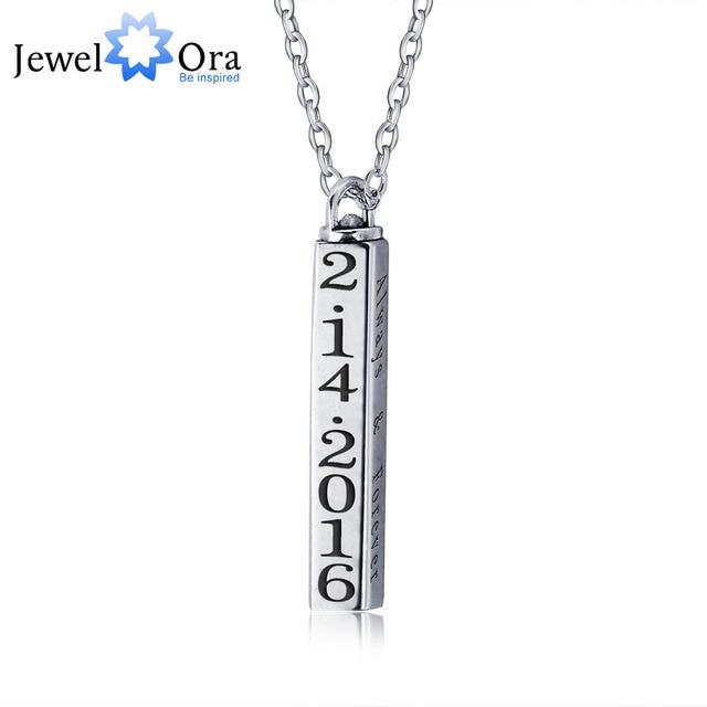 Personalized Rotatable Column Strip Pendants Necklaces 925 Sterling Silver Necklaces & Pendants (JewelOra NE101242)