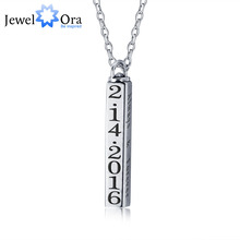 Personalised Rotatable Column Strip Pendants Necklaces 925 Sterling Silver Necklaces & Pendants (JewelOra NE101242)