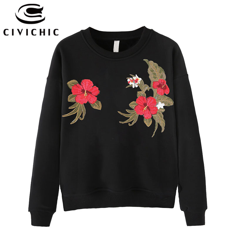 CIVICHIC Women Retro Floral Embroidery T-shirt Round Neck Cotton Pullover Ethnic