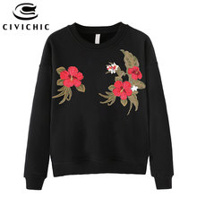 CIVICHIC Women Retro Floral Embroidery T-shirt Round Neck Cotton Pullover Ethnic