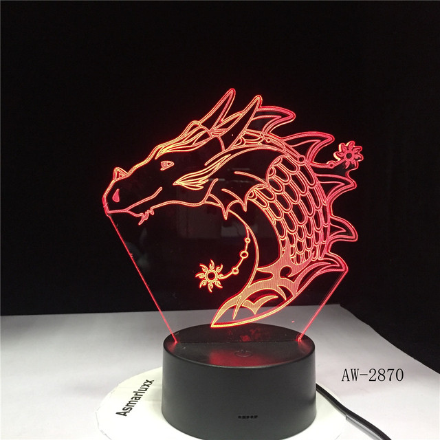 Acrílico dragão Novo 3D 7 Mudança de Cor CONDUZIU a Lâmpada de Mesa USB 3D Night Light Room Decor Férias Namorada Crianças Brinquedos dropship AW-2870