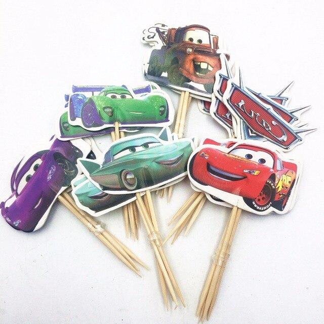 24pcs Cake Topper Lightning Mcqueen Birthday Cake Topper Cars Happy