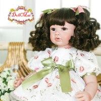 Baby girl reborn silicone dolls 2460cm handmade princess toddler baby alive dolls curly hair wig bonecas oyuncak bebek