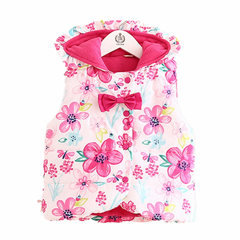 12m-7T Baby Girls Warm Fleece Vest Floral Print Hooded Winter Vest Girls Autumn Winter Padded Vest Girls Clothes