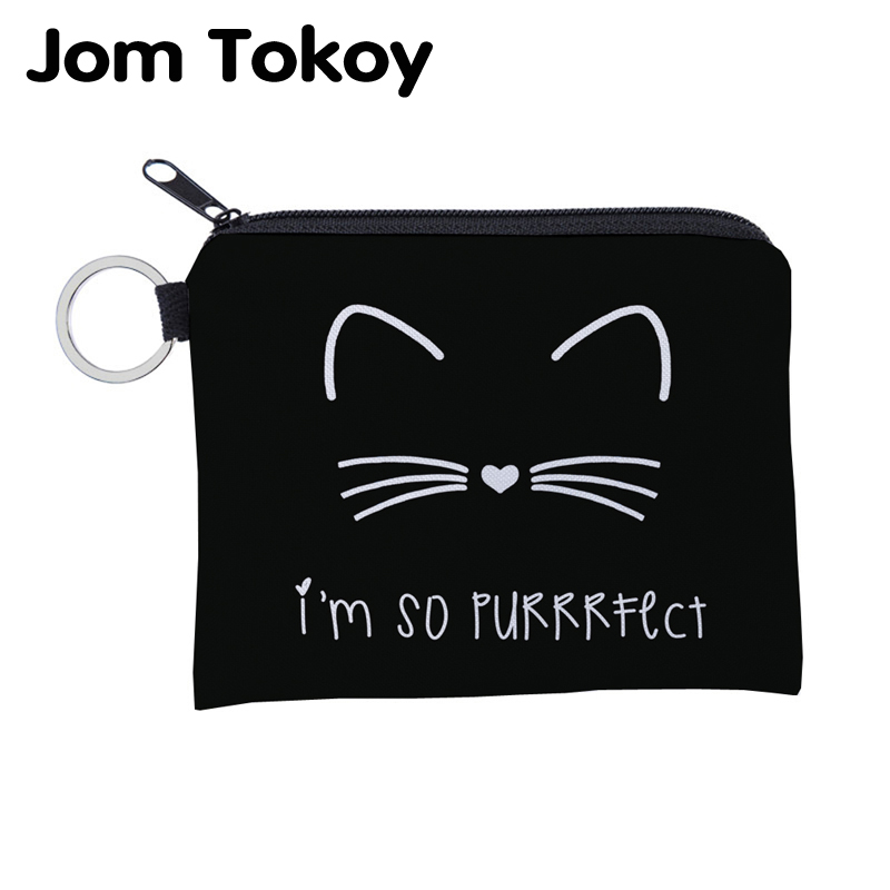 Jomtokoy Cute Cat Printing Waterproof Purse Card Key Pouch Small Zipper Coin Purse Card Holder Mini Square Wallet