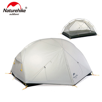 Naturehike Mongar 2 Persons Camping Tent 20D Nylon Fabic Double Layer Waterproof Tent for 3 Seasons NH17T007-M double 20d silicon coated four seasons ultra light camping outdoor tent