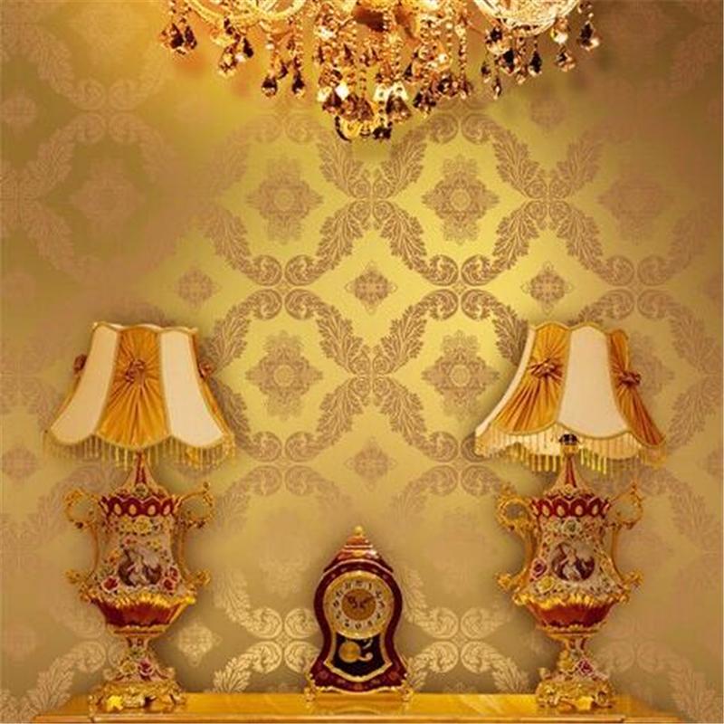 damast gold tapete-kaufen billigdamast gold tapete partien aus ... - Wohnzimmer Blau Gold