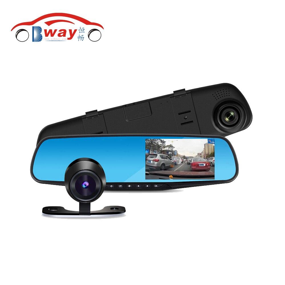 Dual Lens Rearview Mirror Camera Ultra Thin Full HD 1080P 4.3LCD Car DVR Night Vision Dash Cam Parking Camera Function Recorder