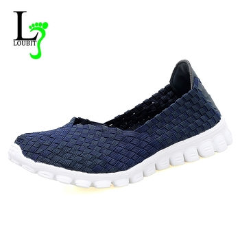 Women Shoes 2018 Summer Casual Flats Shoes Breathable Female Woven Shoes Slip On Ladies Loafers Handmade Shoes Size 35-40