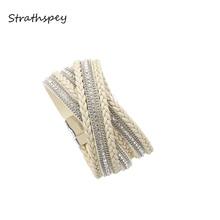 лучшая цена STRATHSPEY Rhinestone Leather Bracelet For  Women Woven Magnetic Silver Gold Color Bracelets Boho Wrap Bracelet Wristband