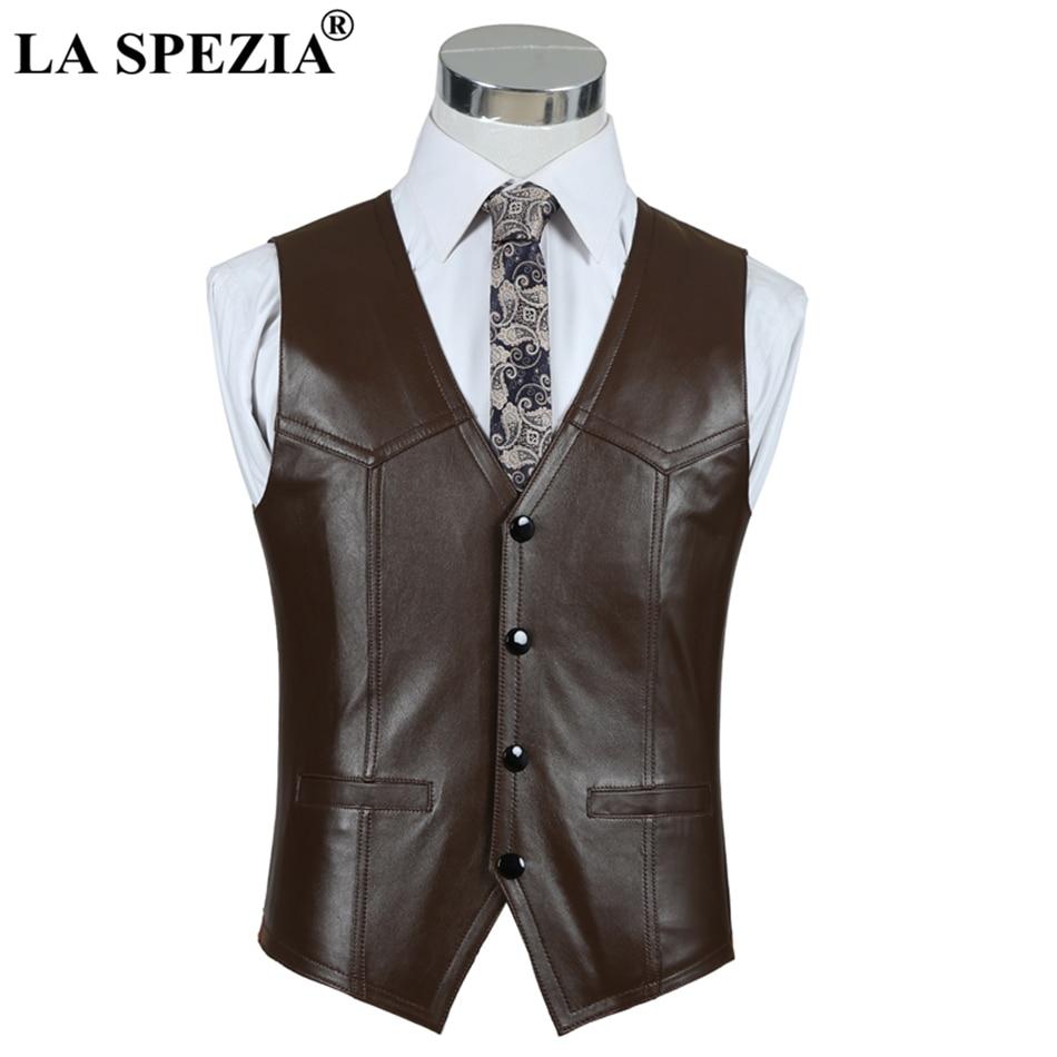 LA SPEZIA Luxury Brand Genuine Leather Sheepskin Vest Men Brown Business Jacket Sleeveless Waistcoat Spring Motorcycle Vest Male in Vests amp Waistcoats from Men 39 s Clothing