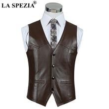 LA SPEZIA Luxury Brand Genuine Leather Sheepskin Vest Men Brown Business Jacket Sleeveless Waistcoat Spring Motorcycle Male