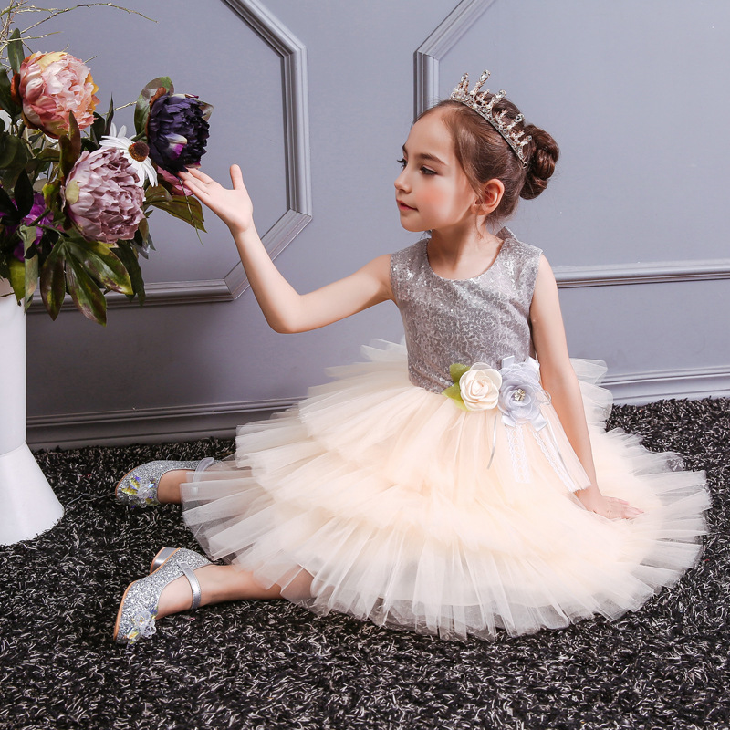 Flower     girl     dresses     girls   party   dress   multi-layer sequin open back bow princess   dress   baby costume first communion   dresses