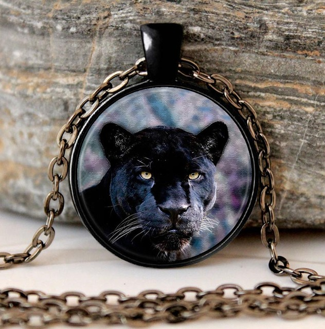 Black Panther Necklace Cat pendant Animal Nature Picture Gothic Glasses Pendant Necklaces Gift The the Jungle Book
