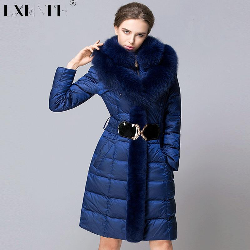 4XL Long Warm Winter Jackets Coats Womens Detachable Fox Fur Feminine Coat Slim Elastic Waist Women's Coats Plus Size 2017