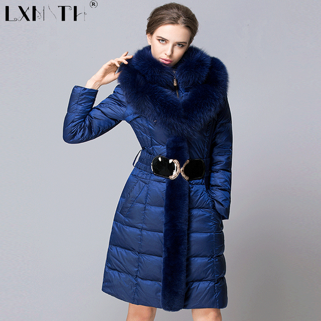 5021dca068 4XL Long Warm Winter Jackets Coats Womens Detachable Fox Fur Feminine Coat  Slim Elastic Waist Women s Coats Plus Size 2019