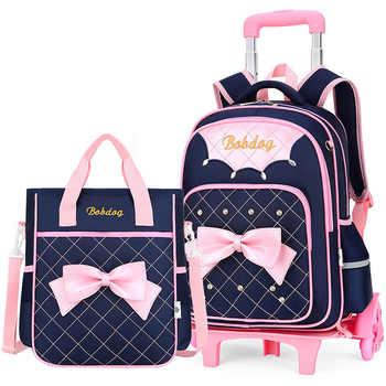 Trolley School Bag for Girls with 3 Wheels Backpack Children Travel Bag Rolling Luggage Schoolbag Kids Mochilas Bagpack handbag - DISCOUNT ITEM  50 OFF Luggage & Bags