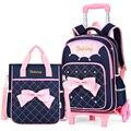 Trolley Schule Tasche für Mädchen mit 3 Rädern Rucksack Kinder Reisetasche Roll Gepäck Schul Kinder Mochilas Bagpack handtasche-in Schultaschen aus Gepäck & Taschen bei