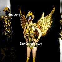 ES004 бальных танцев костюмы этап носит крылья золото зеркало платье боди dj производительность наряд bellydance Одежда Косплей клуб