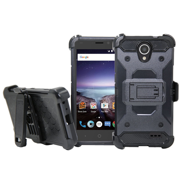 Heavy Duty Armor Case+Tempered Glass Film Belt Clip Holster Cover For ZTE Prestige 2 N9136/Maven 3 Z835/Prelude+ Z851/Overture 3