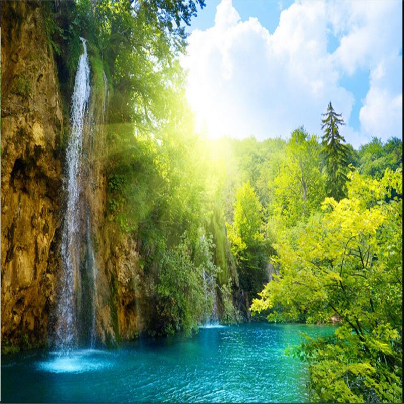 beibehang wallpaper Waterfall scenic lake resort in the morning sun background large mural 3d wall wallpaper for living room custom photo wallpaper waterfall scenic lake resort morning sun background large mural papel de parede 3d wall murals wallpaper