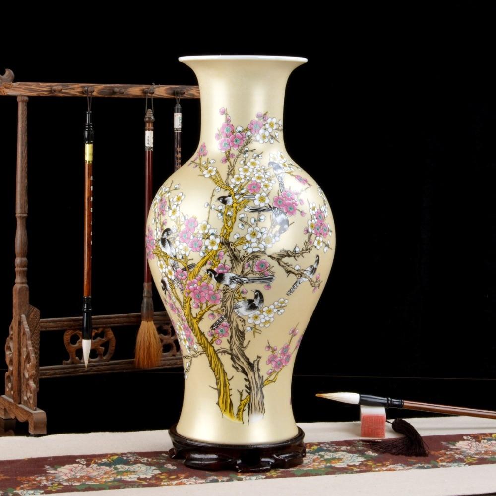 Jingdezhen ceramic fishtail vase gold glaze plum tree pastel vase modern home furnishing room decorative crafts and ornaments vase