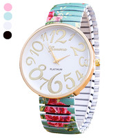 Gofuly   Women   Beautiful Flowers Print Design Luxury Elasticity Shrink   Bracelet   Quartz Wrist   Watch   Relogio Feminino Montre Femme