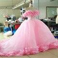 Cinderela Quinceanera Vestidos Rosa vestido de Princesa vestido de Baile Formal de Longo Vestidos de Festa Fora Do Ombro Flores 3D Fotos Reais