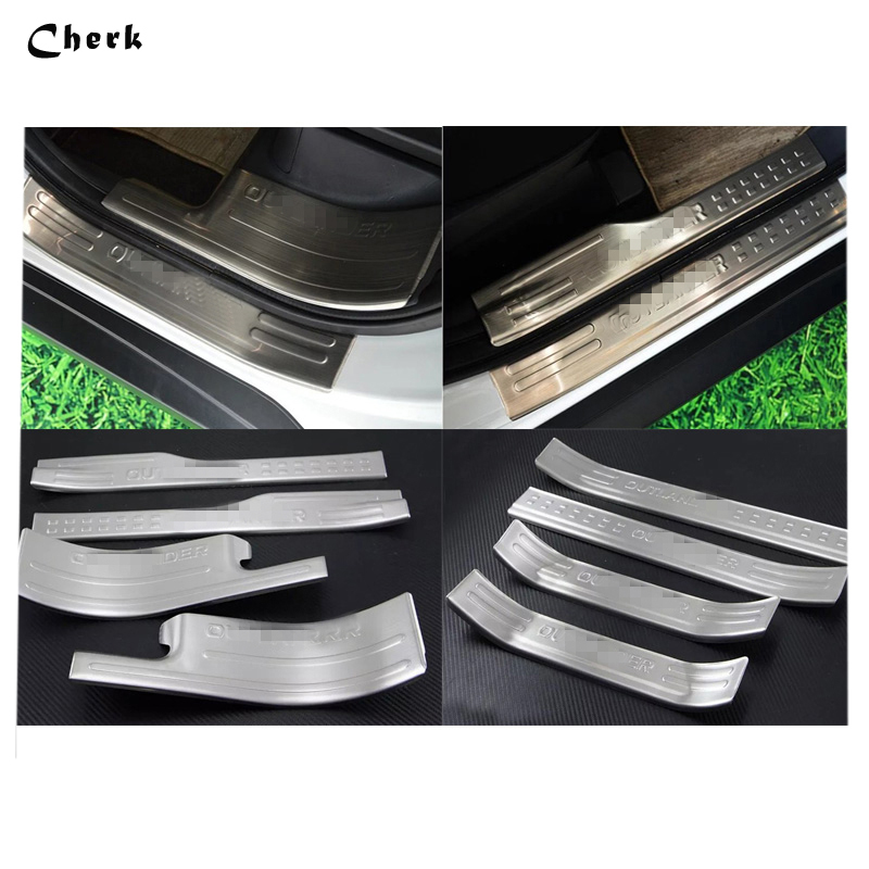 For Mitsubishi Outlander 2016 Stainless Steel Car Scuff Plate Door Sill Inner Welcome Pedal Decoration  Car Accessories stainless steel inner door sill scuff plate for land rover range rover sport 2014 2017 welcome pedal trim car accessories