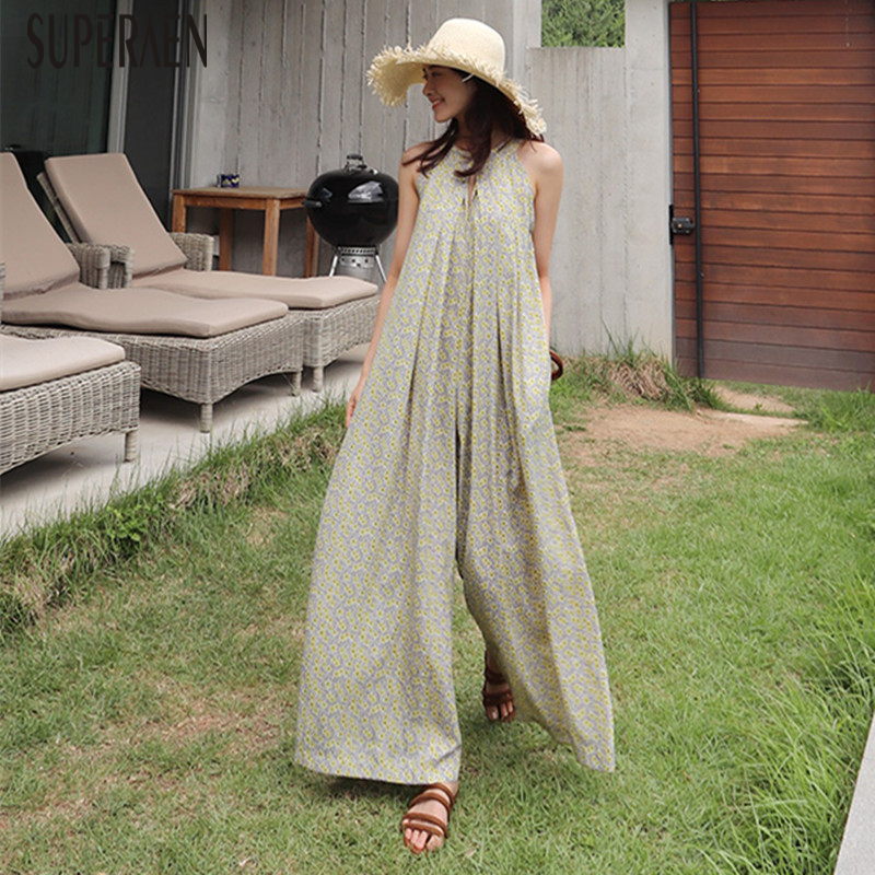 SuperAen Summer Korean Style Women Jumpsuits Wide Leg Pants Pluz Size Chiffon Jumpsuits Casual Loose Fashion Jumpsuits New 2018