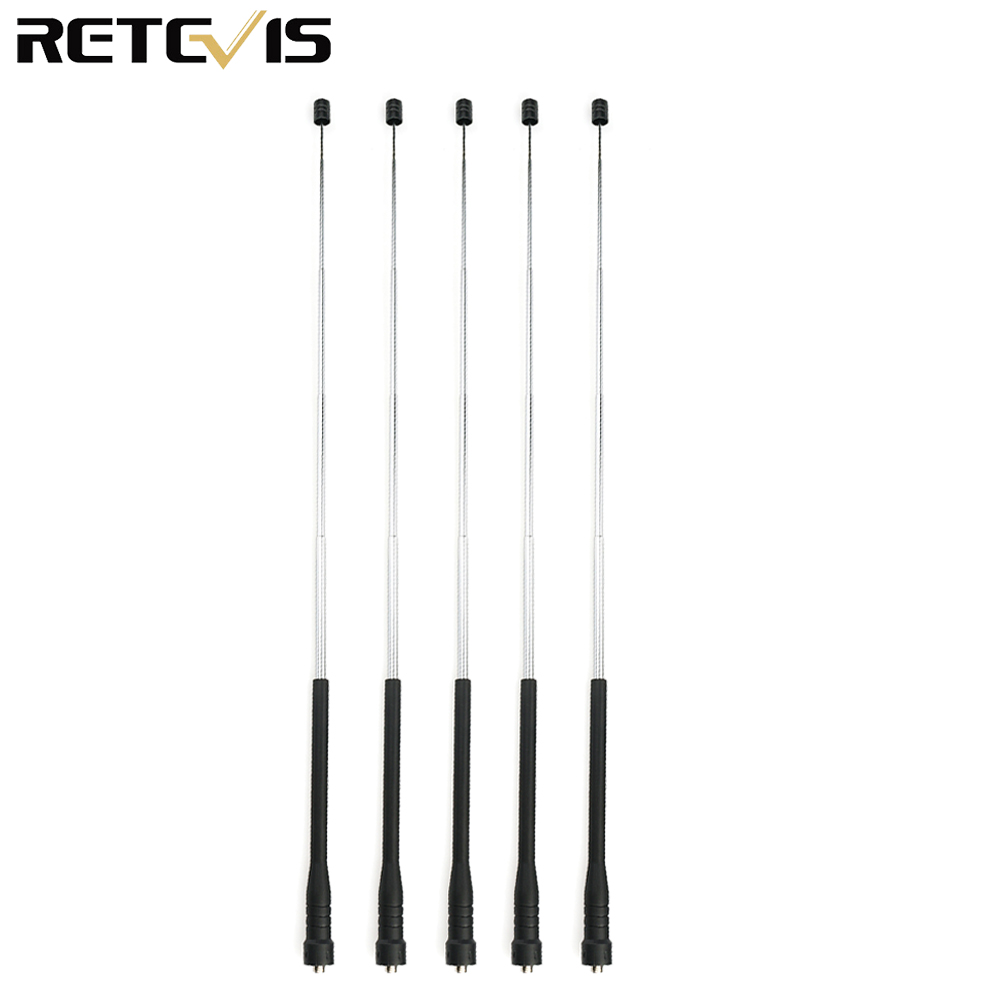 5pcs High-Gain VHF/UHF Antenna Dual Band SMA-F For Kenwood RETEVIS H777 RT5R RT29 Walkie Talkie Hf Transceiver C9068A