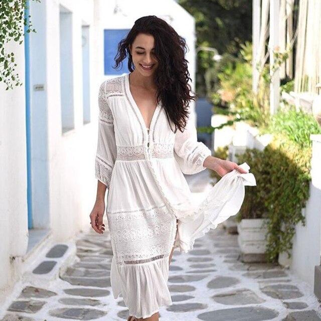 6721277abb3 Boho Inspired women dress cotton lace patchwork lantern sleeve V-nck chic  long summer dresses