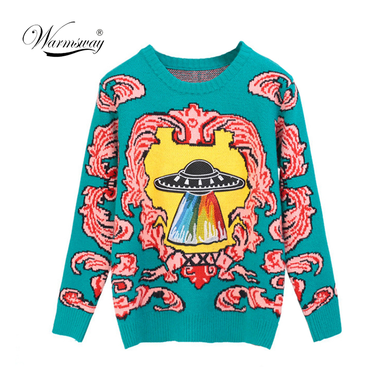 Women New Vintage Warm Sweaters UFO Clouds Jacquard Pullovers Winter Autumn Knitted Retro Loose Tops Blusas C-012(China)