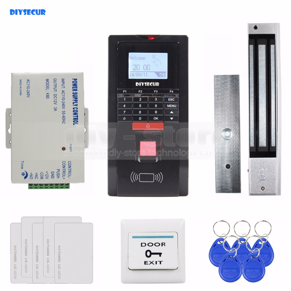 DIYSECUR Full Fingerprint ID Card Reader Password Keypad Door Access Control System + Power Supply + 280kg Magnetic Lock Kit diy full tcp ip fingerprint access control system fingerprint door access control with rfid card reader md131 magnetic lock