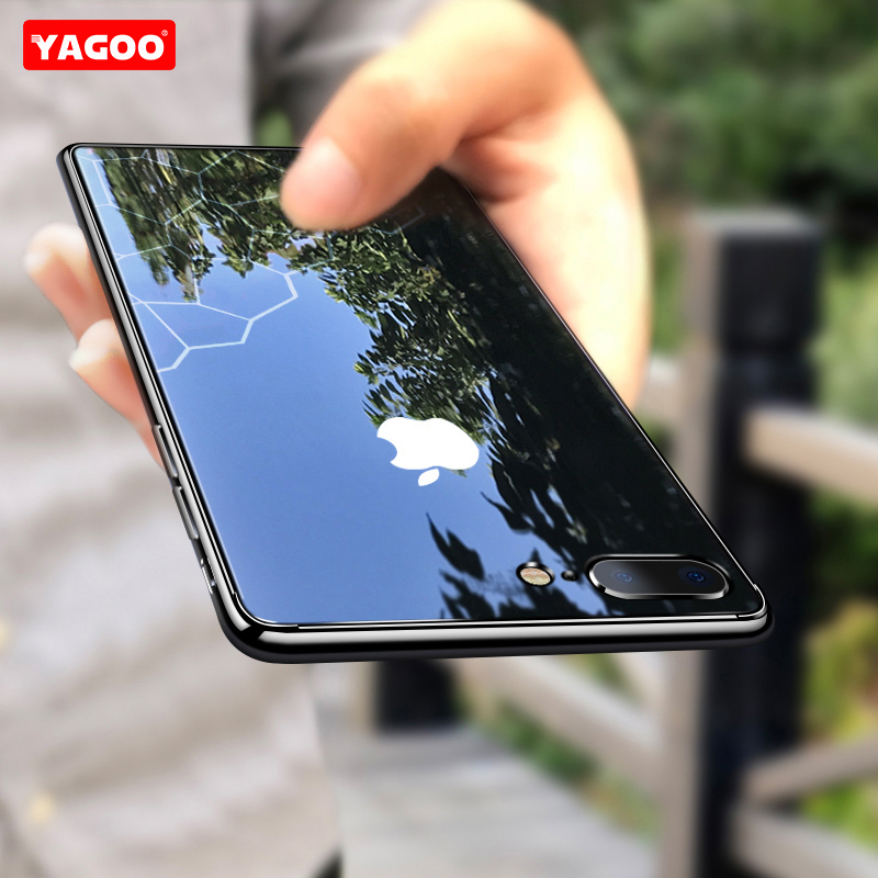 For iphone 7 8 plus case for iphone 7 8 case protective Tempered Glass plain ultra slim case for iphone 7 plus case mirror Yagoo