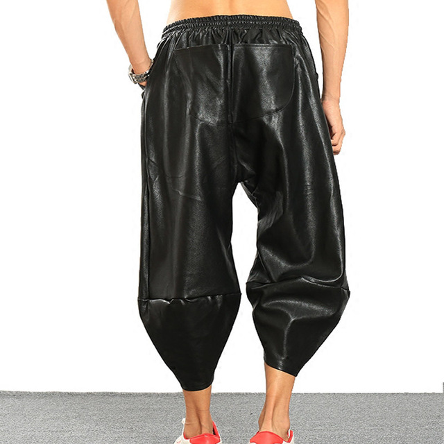 M-6XLAvant Garde Mens PU Faux Leather Harem Drop Crotch Locomotive Motorcycle Jeans Casual Street Dance DJ Rock Slacks Trousers 4