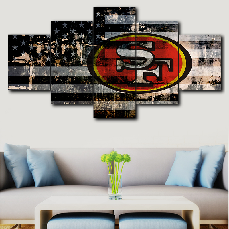 Us 6 36 47 Off 5 Panel Canvas Wall Art Deco Modern Decorative Picture San Francisco 49ers Sport Logo Painting For Living In